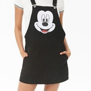 Mickey Black Overall Dress Disney Forever 21 Small
